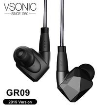سماعات أذن vسونيك GR09 2019 بمحرك ديناميكي HIFI داخل الأذن عزل ضوضاء احترافي IEM مع كابل قابل للانفصال MMCX