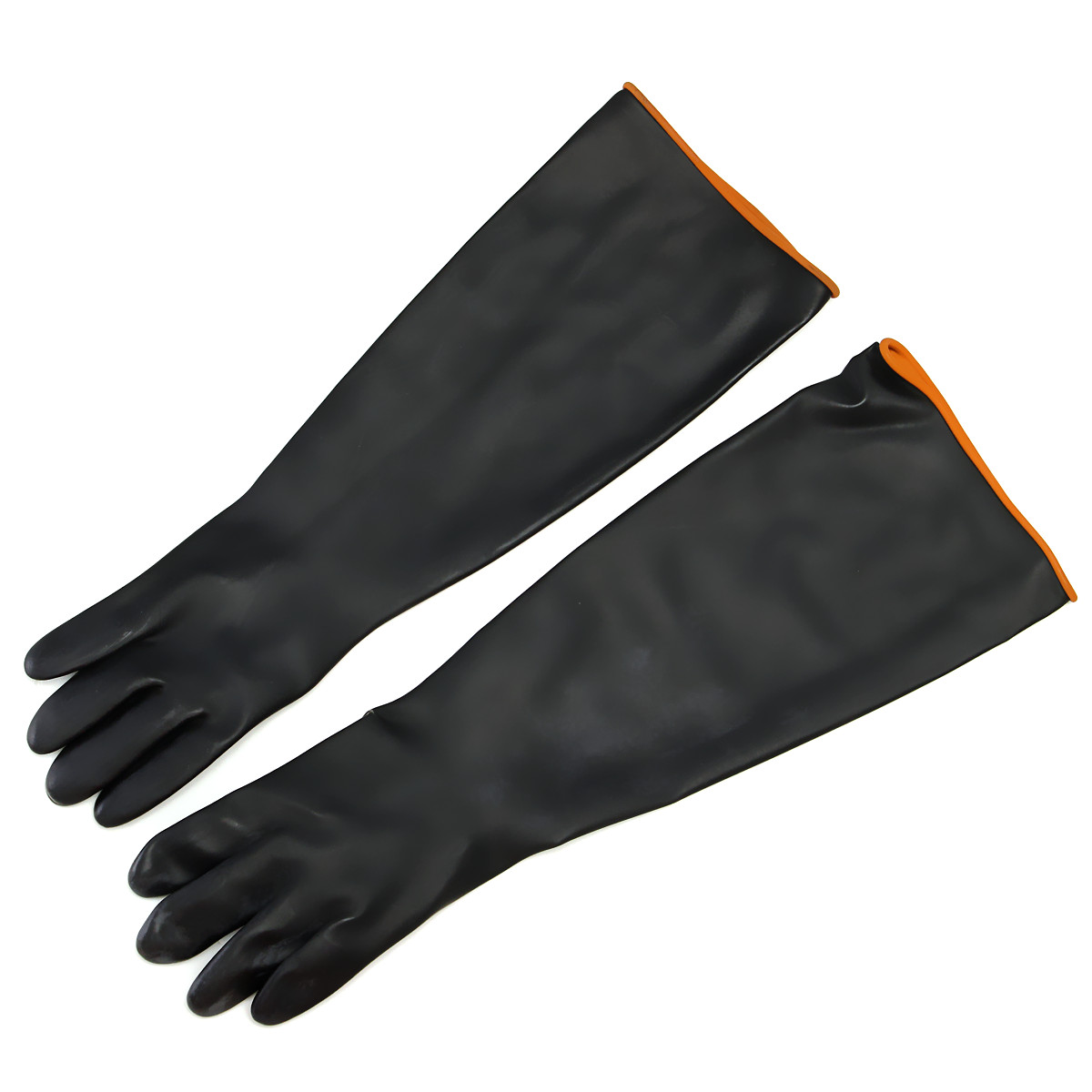 FGHGF Latex Industrial Rubber Gloves Acid and Alkali Resistant Anti-corrosion Black Workplace Safety Protective Glove Black 100% natural latex gloves high quality 40cm lengthened red clean work gloves oil resistant acid and alkali protective gloves