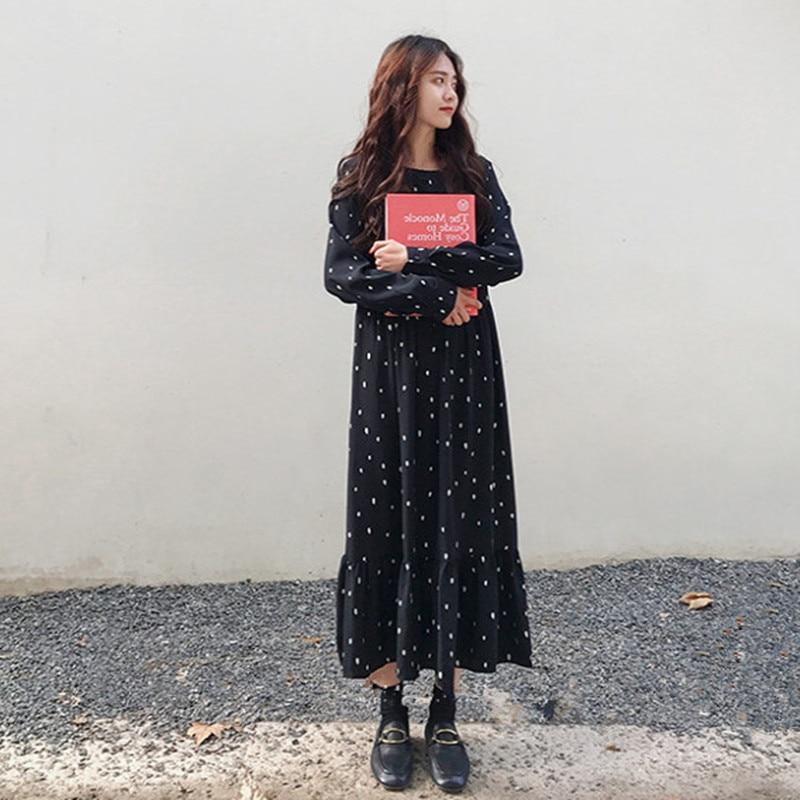 L-4XL Plus Size Women Maxi Dress Chiffon Long Sleeve Dot Printed Casual Loose Dresses Spring Autumn 2020 High Waist Vestidos