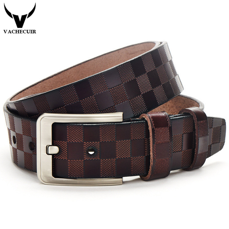 VACHECUIR Boutique! Brand Men's Genuine Real Leather Belts,Fashion Plaid Straps With Pin Buckle Belt For Men Q2