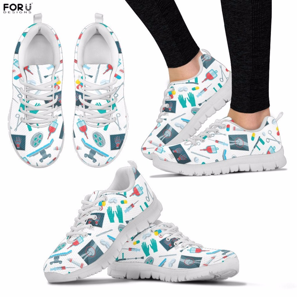 FORUDESIGNS Women Shoes Surgeon Pattern Sneakers Teenager Girls Casual Breathable Mesh Flats Spring Walking Shoes Lace-up Shoes forudesigns spring summer casual women sneakers cute happy chef pattern flats shoes woman fashion cartoon mesh shoes women flat