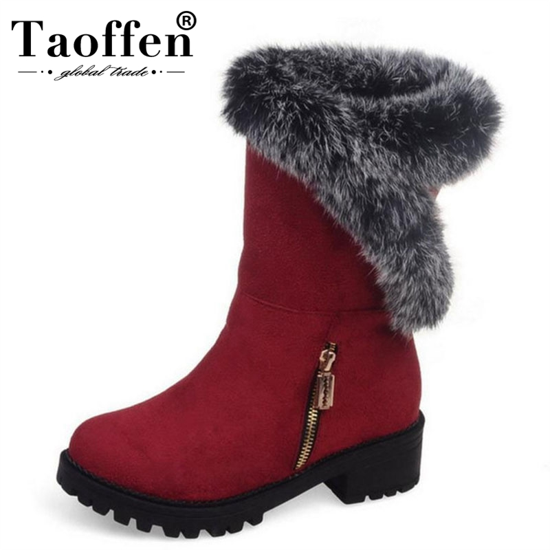 Women's Shoes 2019 New Style Taoffen Plus Size 30-52 Women Boots Winter Snow Flats Round Toe Mid Calf Boots Women Fashion Platforms Casual Footwear Careful Calculation And Strict Budgeting