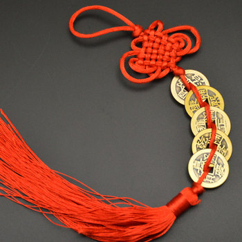 Chinese manual Knot Fengshui Lucky Charms Ancient I CHING Copper Coins Mascot Prosperity Protection Good Fortune Home Car Decor 30