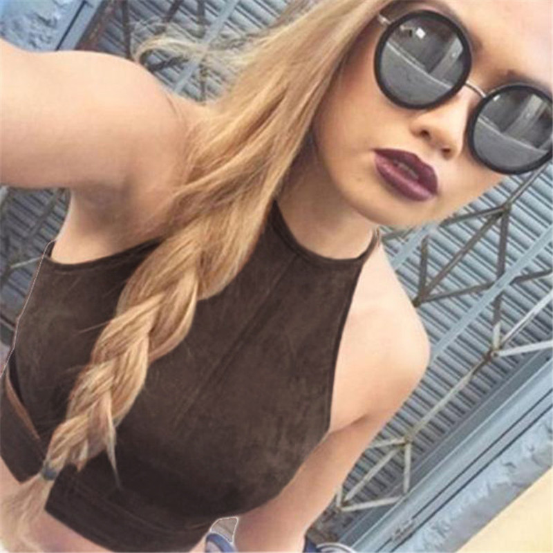 06acabb2d0 Summer Vintage Brown Faux Leather Suede Cropped Tank Top Bra Sexy Strap  Hollow Camis Women Tops