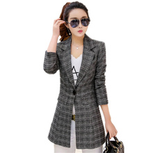 New Women Single Button Plaid Blazer Suits 2017 Spring Autumn Casual Office Slim Outerwear Female Medium Long BlazerJacket C198(China)
