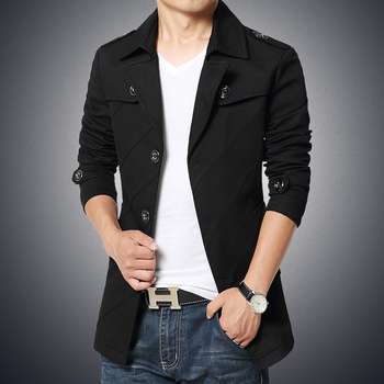 Business Casual Blazer Male Cotton Long Blazers