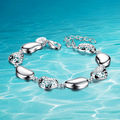 Fashion silver solid bracelet Lock the woman shaped;925 Silver beads bracelet ;Joker fashion;Party necessities;