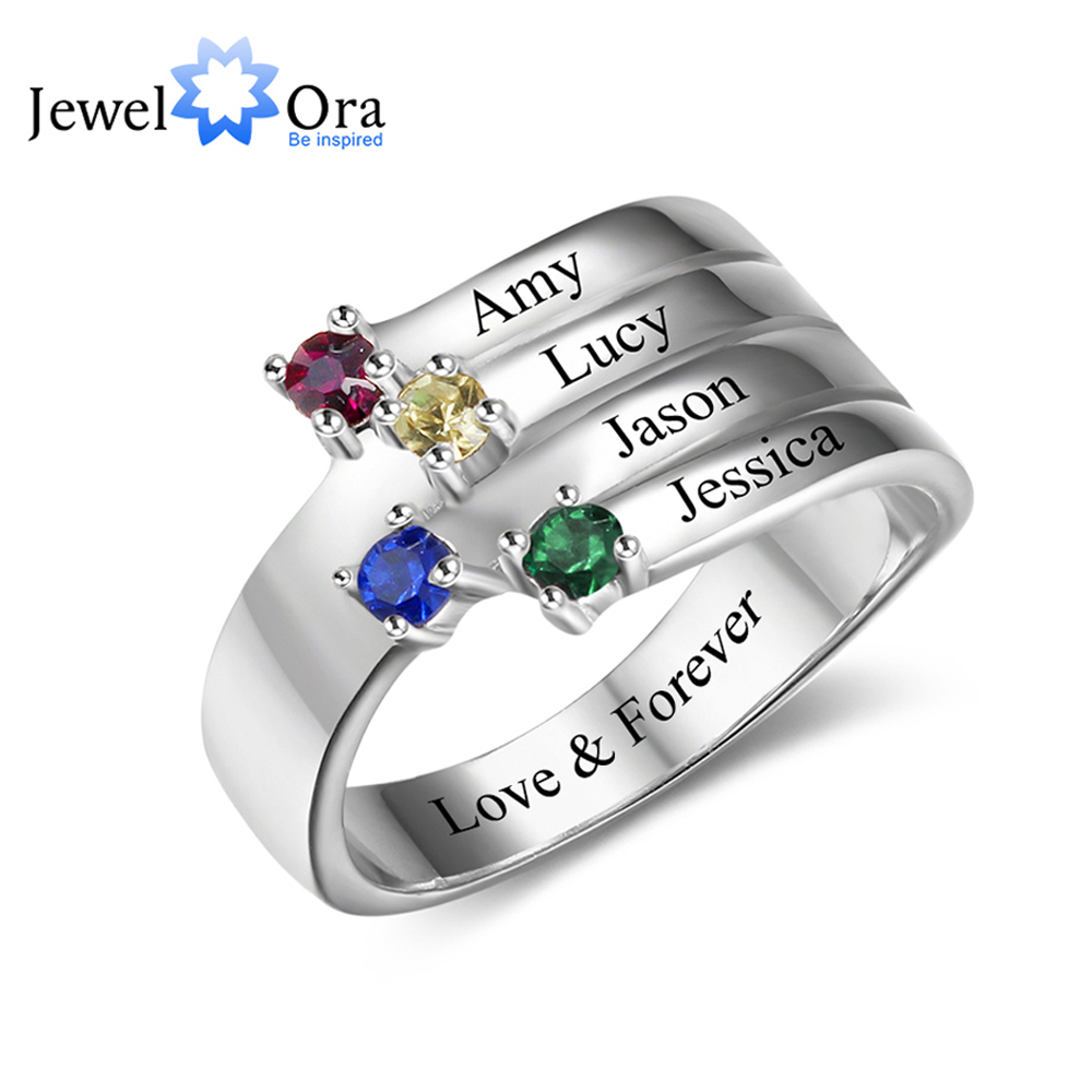Anniversary Ring Personalized Custom Birthstone Ring Engrave Name 925 Sterling Silver Lover's Gift Rings (JewelOra RI102557 ) personalized birthstone ring 925 sterling silver heart stones engrave name jewelry engagement gift mother rings ri101793