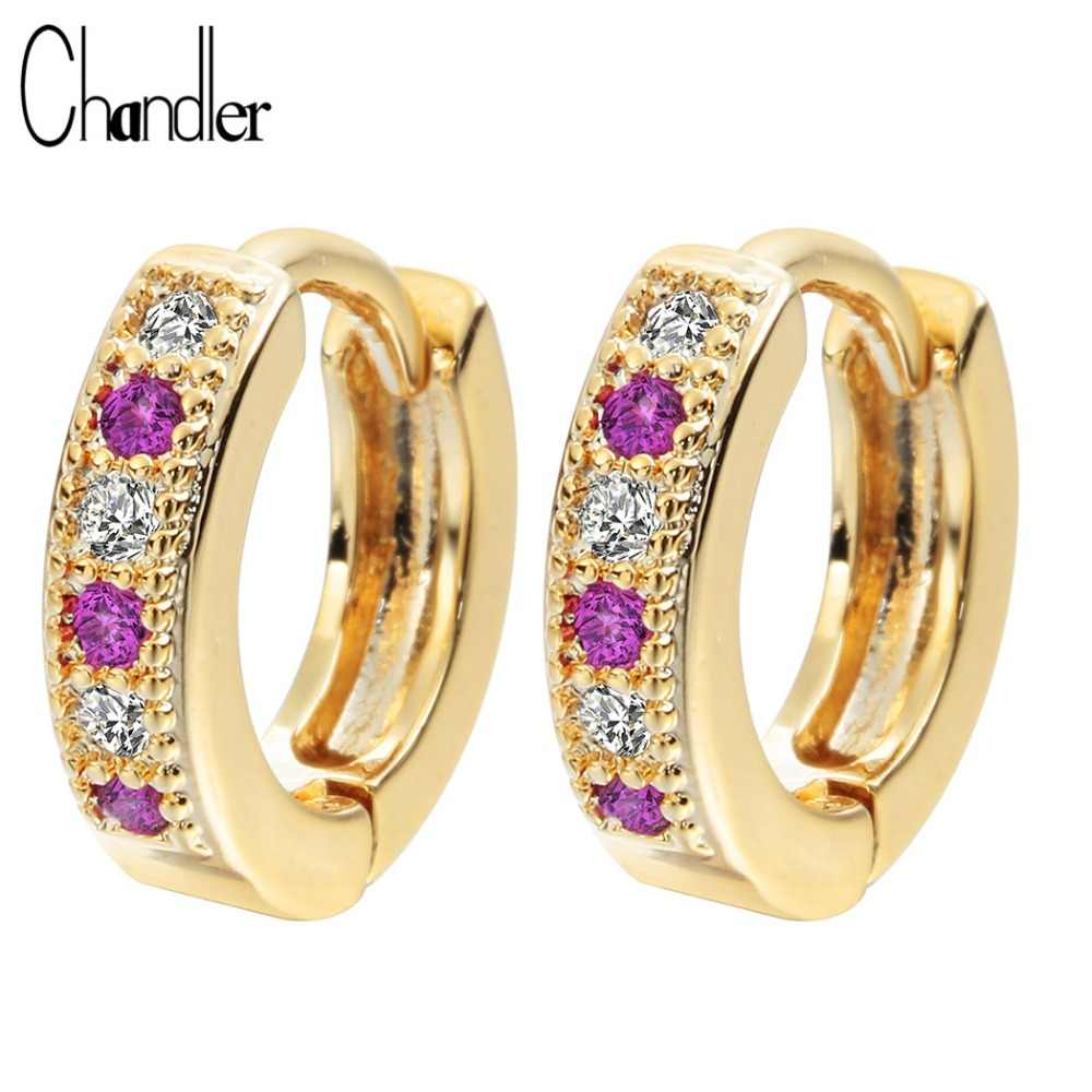 Chandler New Gold Silver Plated Purple Classic Baby CC Hoop Earrings Champagne Huggie Round Austrian Crystal Statement Jewelry