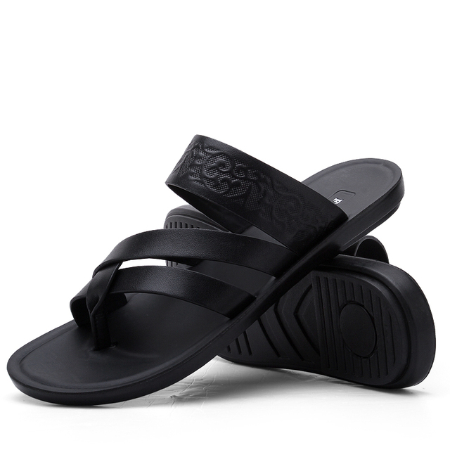 2019 New Summer Fashion Men Flip Flops High Quality Beach Sandals Genuine Leather Slip-on Zapatos Hombre Black Casual Shoes