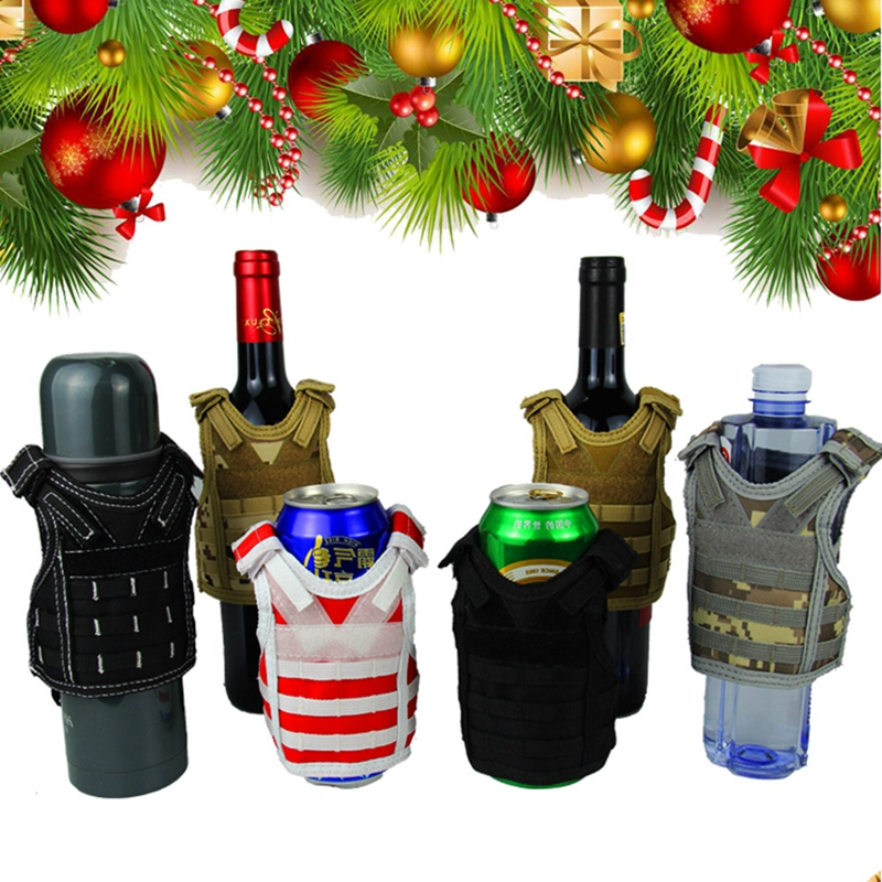 Independent Tactical Beer Military Molle Vest Mini Miniature Wine Bottle Cover Vest Beverage Cooler Adjustable Shoulder Straps Hiking Vests Hiking Clothings