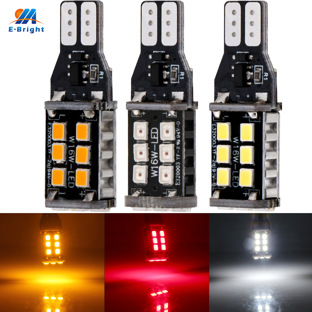 Ym E-bright 2 Pcs 12v Dc T15 2835 15 Smd Led Car Lights Canbus Auto Bulbs Reverse Light White Amber Red Car Styling 420lm Convenient To Cook Car Lights