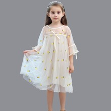 hot deal buy 2018 new white kids dresses for girl dresses summer embroidery pineapple mesh princess dresses for party wedding kid clothes