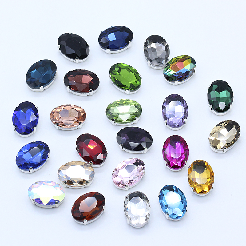 All-size Oval 24-colors glass crystal stone sew on claw rhinestone silver base button for DIY shoes headdress Wedding dress Trim