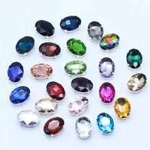 Todos os tamanhos oval 24-cores de cristal de vidro pedra costurar na garra strass botão base de prata para diy sapatos cocar vestido de casamento guarnição