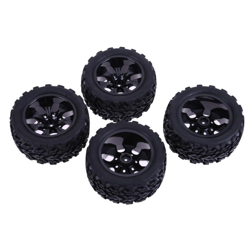 4PCS 17mm Hub Wheel Rim & Tires HSP 1:8 Off-Road RC Car Buggy Tyre Black 4pcs rubber rc racing tires car on road wheel rim fit for hsp hpi 1 10 high quality rc car part diameter 68mm tires