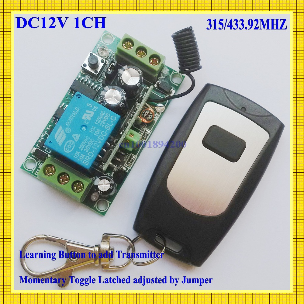 Remote Control Switches 12V DC 1CH Relay Receiver Transmitter Waterproof Learning Momentary Toggle Latched Wireless Power ON OFF 315 433mhz 12v 2ch remote control light on off switch 3transmitter 1receiver momentary toggle latched with relay indicator