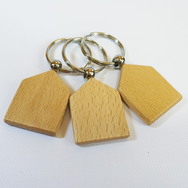 Wholesale 500pcs Blank House Wooden Key Chain DIY Promotion Customized Key Tags Promotional Gifts DHL Free