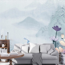 Custom wallpaper new Chinese style simple and elegant elk embossed background wall decoration waterproof material