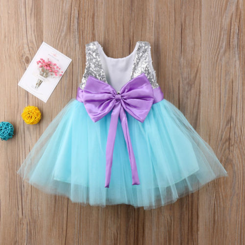 New Kids Girl Lace Flower Dress Bowknot Princess Party Dresses Tutu Formal Dress