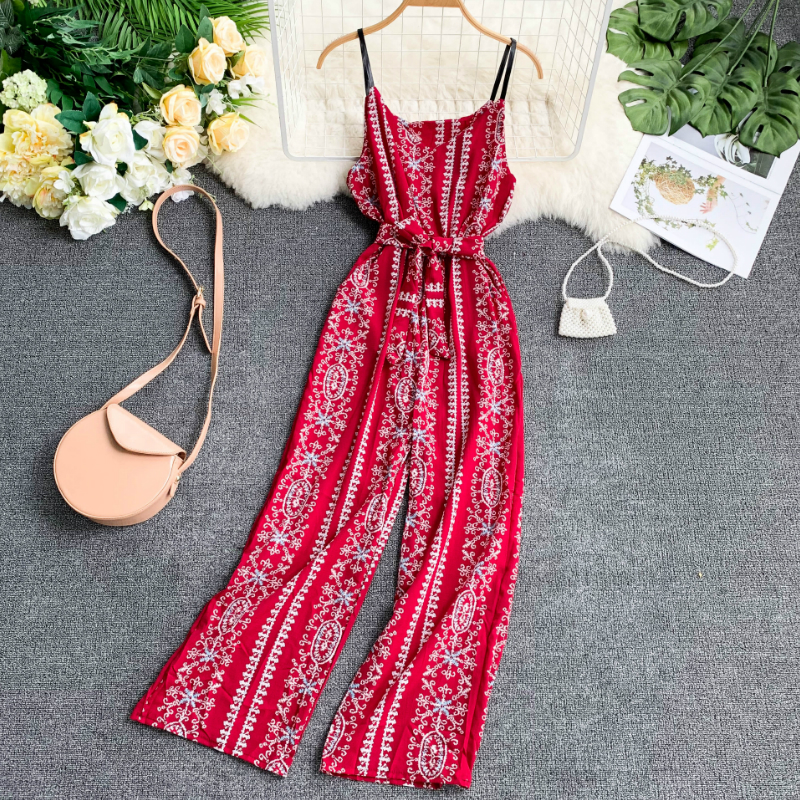 2019 Women Seaside Holiday Printed   Jumpsuits   Elastic Waist Sashes Pocket Broad-legged Rompers Ladies Casual Outfit