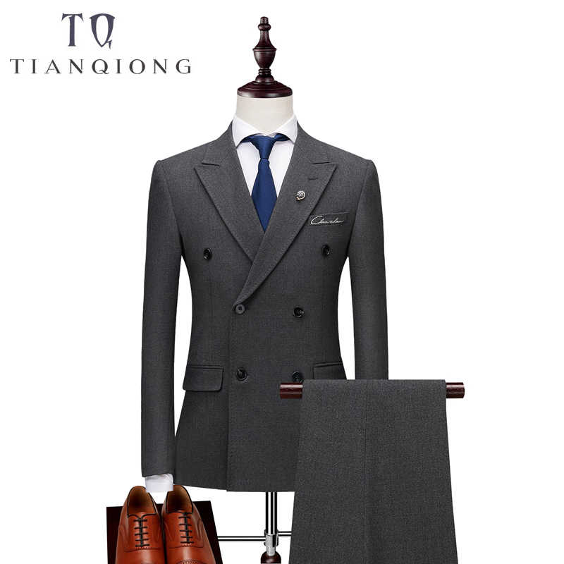 Elegant Double Breasted Suit Men 2018 High Quality Groom Wedding Tuxedo Jacket with Pants Slim Fit 3 Piece Business Wear