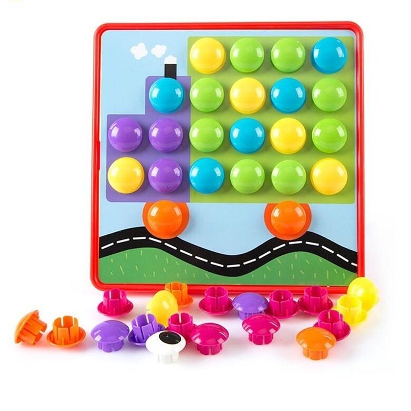 Montessori 10pcs / set Button Nail Puzzle Kids Toys For Children Boys - Teka-teki - Foto 3