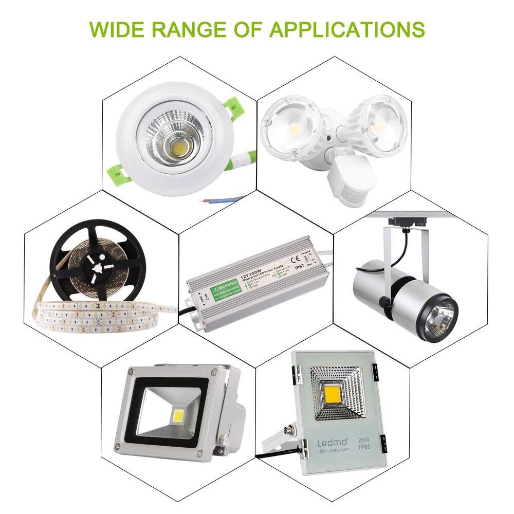 Image 5 - Controlador LED IP68 resistente al agua 50 60Hz 10W 30W 50W 60W 100W 120W 300W fuente de alimentación LED AC90 265V transformadores de iluminación para potencia LEDTransformadores de iluminación   -