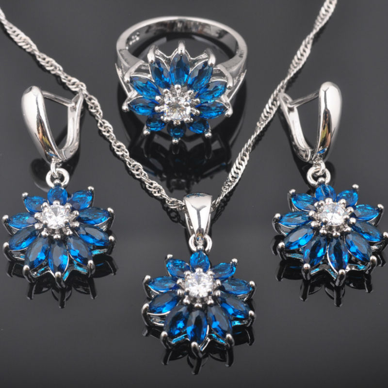 Fahoyo Blau Zirkon Weiß Cz Blume Design Frauen 925 Sterling Silber Schmuck Sets Ohrringe/anhänger/halskette/ringe Qz0434 Duftendes Aroma In