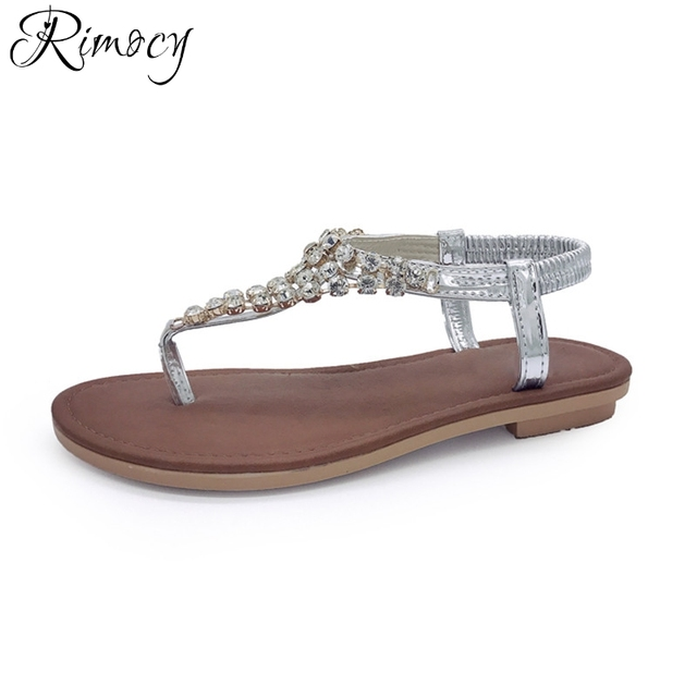 15fc6e11c8d6d9 Rimocy gladiators flat heels rhinestone t strap sandals women 2017 summer  beach crystal flip flops bohemia beaded slip on shoes
