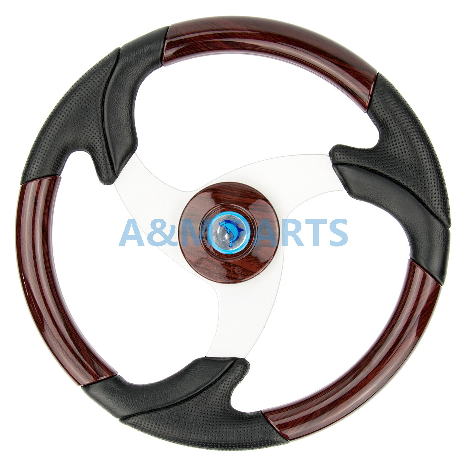 Boat Classic Steering Wheel Wood Grain Wheel Aluminum Spoke W/ Leather 13.5 247 classic leather