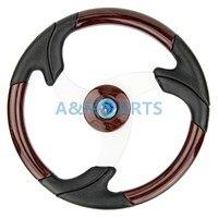 Boat Classic Steering Wheel Wood Grain Wheel Aluminum Spoke W/ Leather 13.5