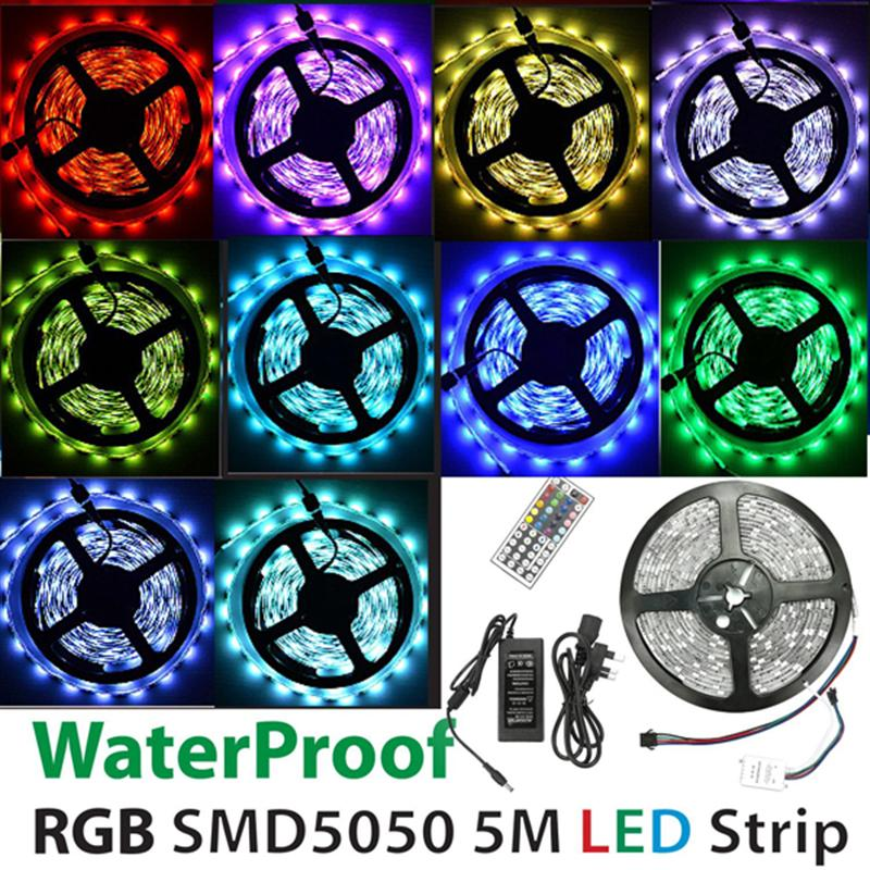 5M SMD5050 150-LED Waterproof/Non-WaterproofLED Strip Light Flexible RGB Light Led Ribbon Tape With 44-Key IR Remote Controller