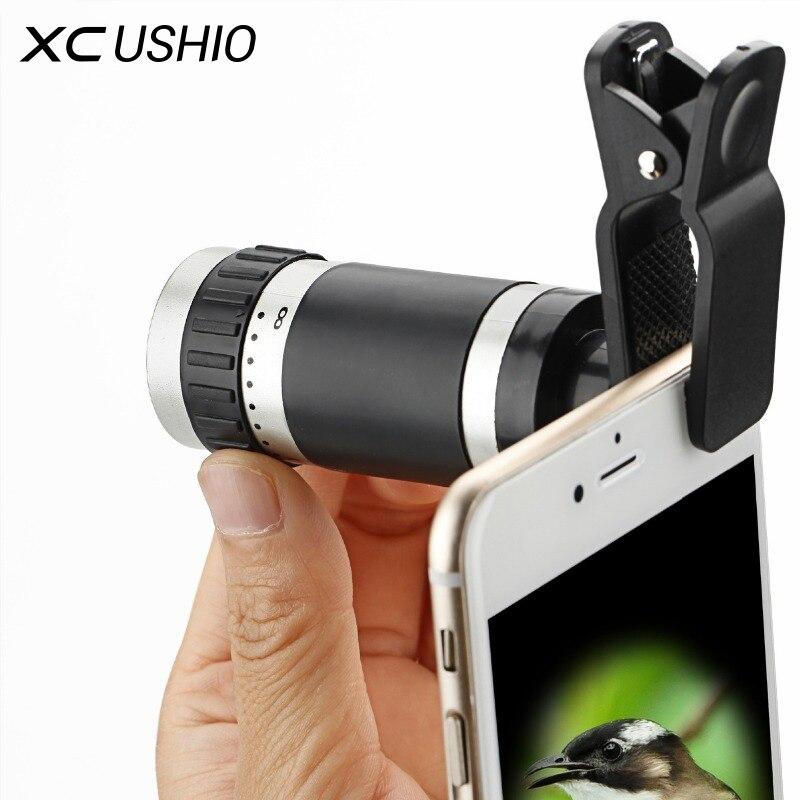 8x Zoom Monokular Teleskop-kameraobjektiv Nachtsicht Mini Universal Optische Clip Tele Schwarz für Handy Zubehör