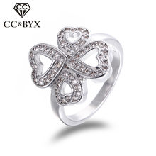Fashion Four Leaf Clover Promise rings for women fine womens lucky rings jewelry high quality wholesale and retail CC187(China)