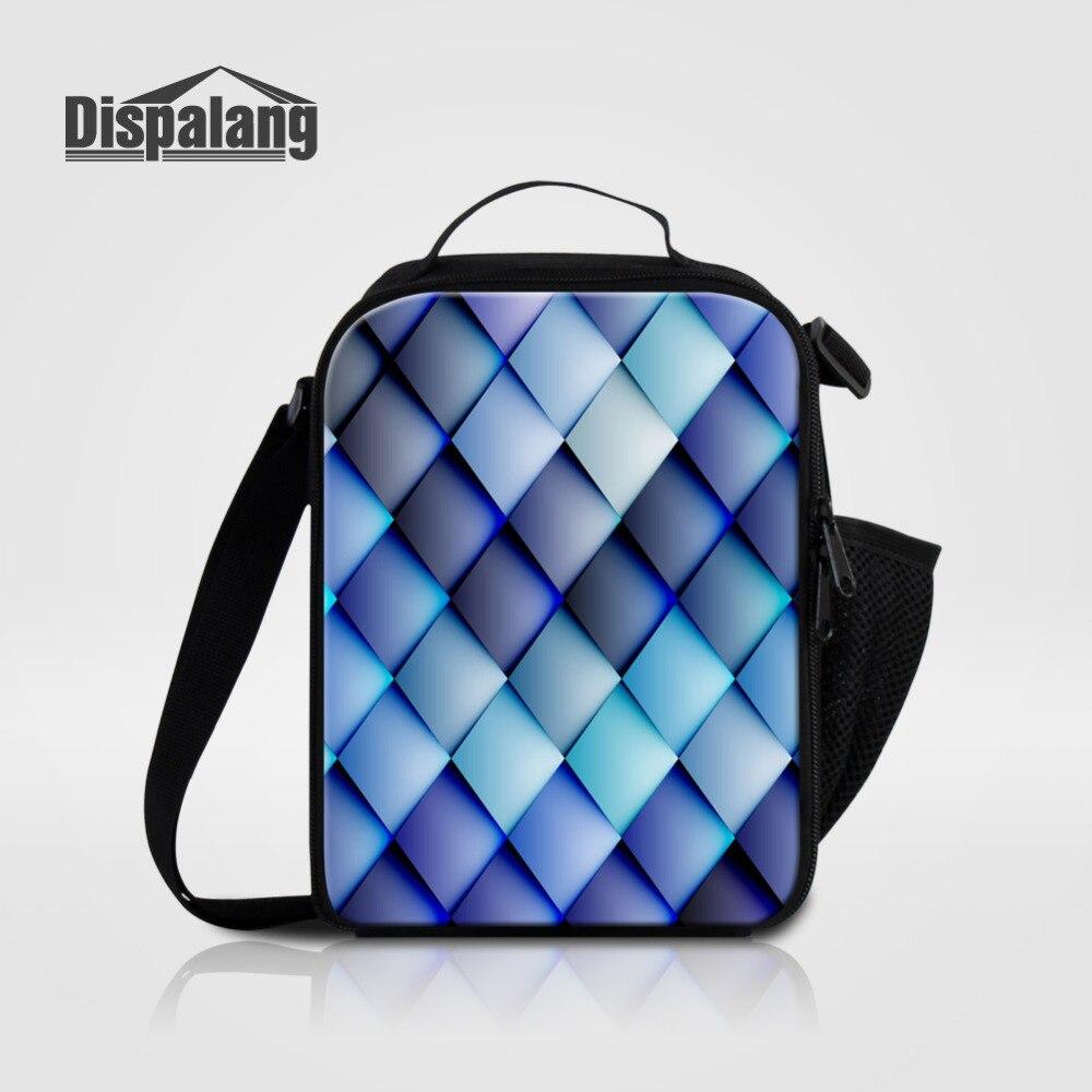 Dispalang Weave Pattern Cooler Insulated Lunch Bag for Women Men Kids Thermal Bag Geometry LunchBox Picnic Food Bag Tote Handbag