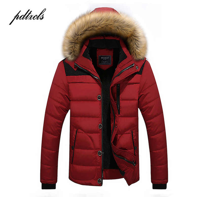 New Fashionable High Quality Men's Thick Winter Coats High Street Warm Casual Slim Jackets Color Block Patchwork Male Parkas