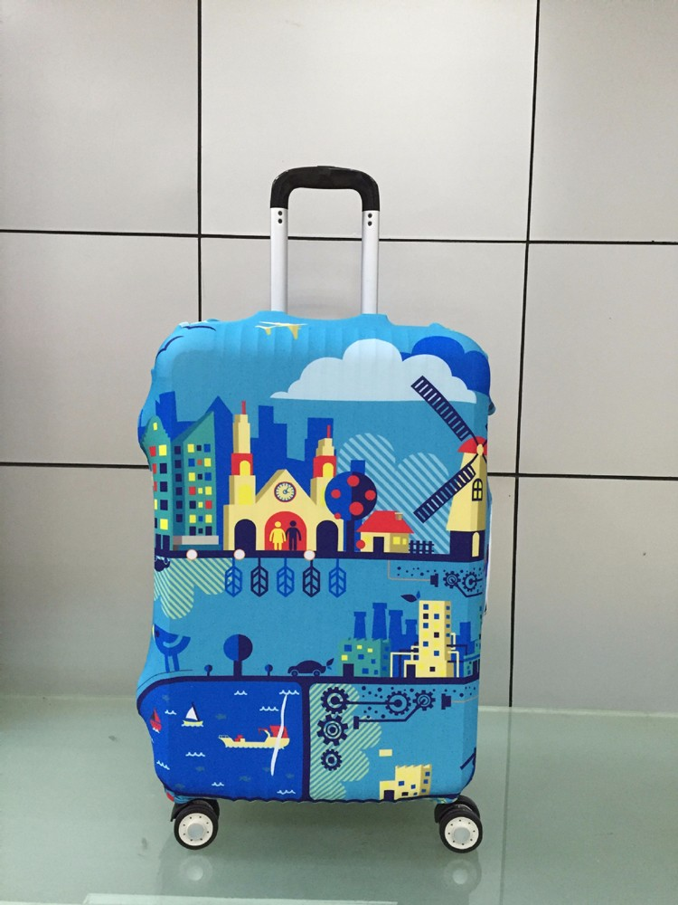 TRIPNUO Thicker Blue City Luggage Cover Travel Suitcase Protective Cover for Trunk Case Apply to 19''-32'' Suitcase Cover 34