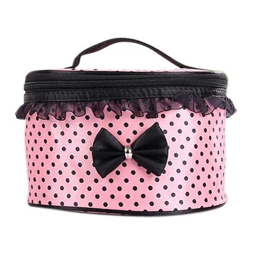 Women Cosmetic Bag Travel Makeup Make Up Bags Organizer Box Beauty Case-Light Pink + Black Dots
