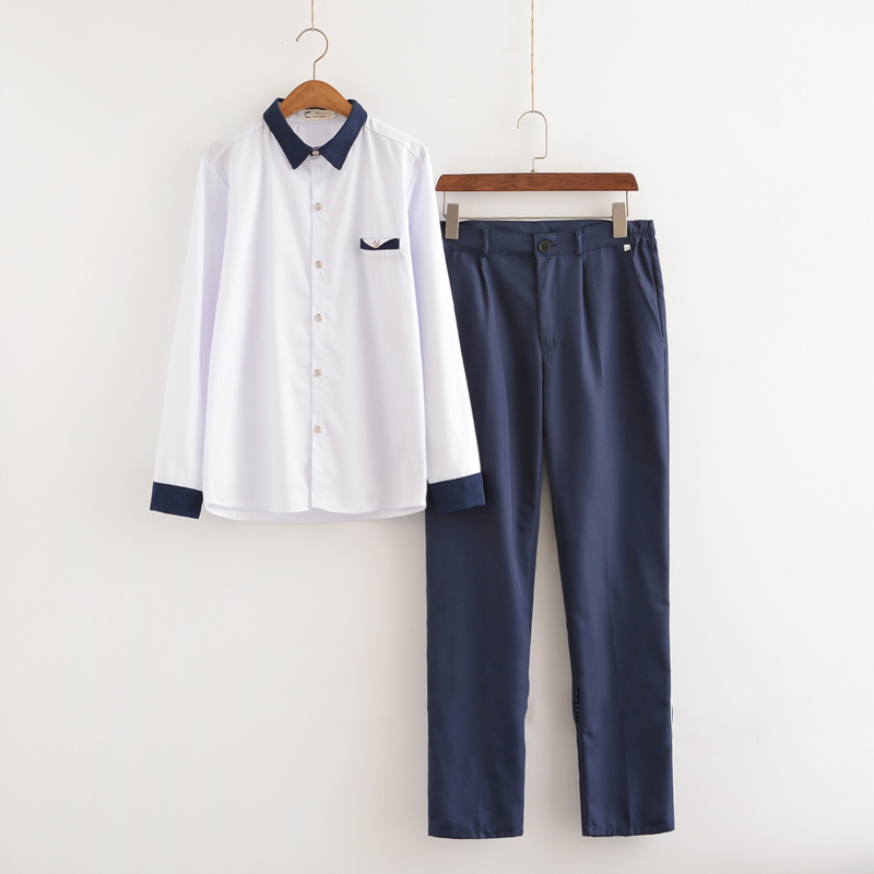 New Arrival Japanese School Uniform Boys Classic Service Korean Sailor Suits Graduation Uniform For Men S-3XL Top+Pants