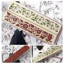 DIY Scrapbooking Lace Stamps Vintage Flower Wooden Lace Workpattern Craft Ink Pad Stamp Wax Seal Stamp