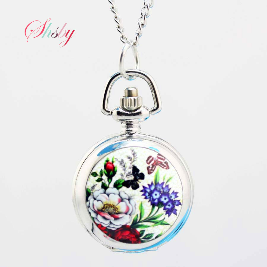 shsby Vintage pocket watches  flower fashion silver Chain necklace quartz watch women dress watches Children's cartoon watches