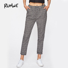 ROMWE Checked Drawstring Pants 2018 Mid Waist Women Casual Loose Tied Autumn Trousers New Fashion Grey Straight Brief Pants