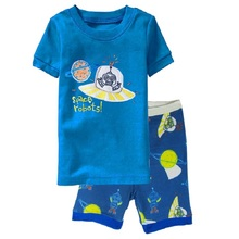 Space Robots Children Pajamas Sets Summer Short Pyjamas Boys clothes Pijama Suit Girls Sleepwear Nightgown Cotton