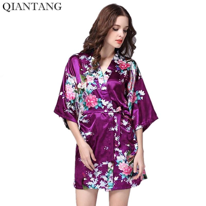 Purple Womens Mini Robe Hot Lady Faux Silk Kimono Bath Gown Sexy Bathrobe Nightgown Mujer Pijama Size S M L XL XXL XXXL S0J35