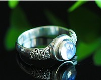 Nepal's Original Manual Thai Silver Thailand Vitreous Blue Moonstone Restoring Ancient Ways Ring Female
