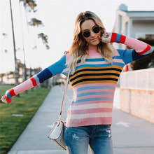 Bellflower women autumn winter knitted rainbow sweaters colorful striped print slim fashion knitting pullovers Long sweater