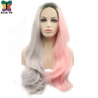 HAIR SW Long Half Grey Half Pink Ombre Wavy Synthetic Lace Front Wig With Dark Root Two tone Pastel Pink Wig women
