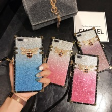 Case For iPhone Xr X Xs Max Cover Glitter Sequins Gradient 3D Bee Metal Square Girly Cover For iPhone 7 8 Plus X 6 6S Plus Cases girly case for iphone xr x xs max cover korean aurora gradient color dot skin bag cases for iphone 7 8 plus 6s case long chain