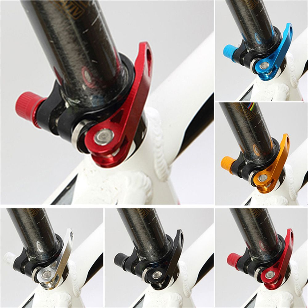 Alloy Cycling Bike Bicycle Quick Release Seat Post Bolt Binder Clamp 31.8//34.9mm